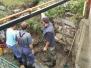 Oprava podmytého múra pri hlavnej ceste